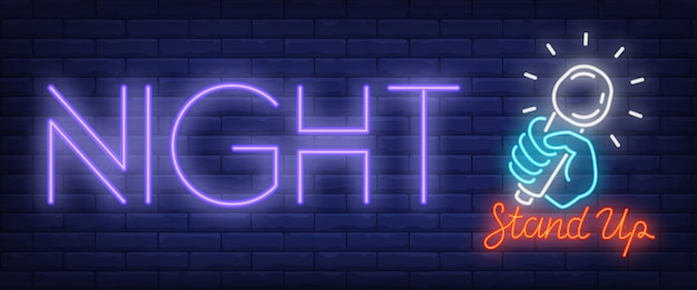 Standup night neon sign