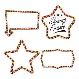 Star set cartelera vectorial. tablero de signo de estrella brillante. luz de neón iluminada de oro de la vendimia. carnaval, circo, estilo casino. aislado
