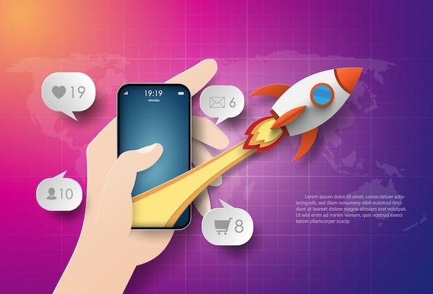 Start-up business, uso de teléfonos inteligentes para negocios, trabajo y marketing.