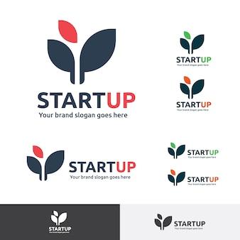 Start up company logo, símbolo de plantas nuevas.