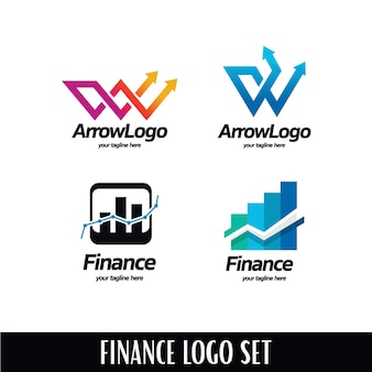 Stats arrow logo template set
