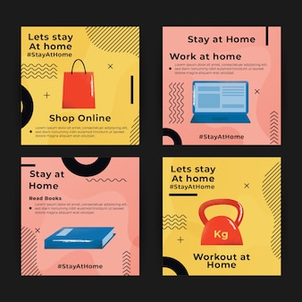 Stay at home evento instagram posts collection