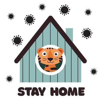 Stay home ilustración de concepto de cuarentena. tigre en casa mirando en la ventana. banner para niños