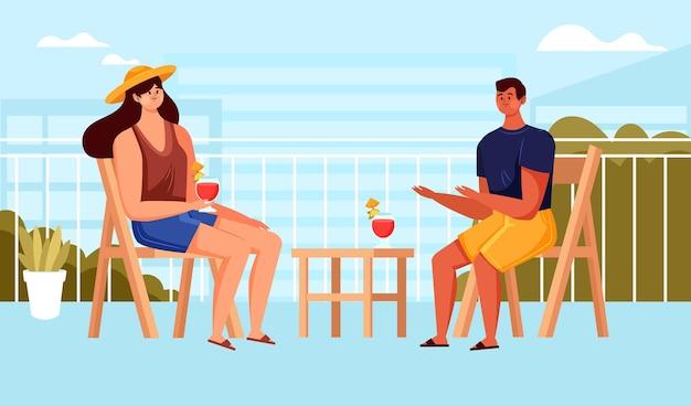 Staycation en casa balcón con mujer y hombre.