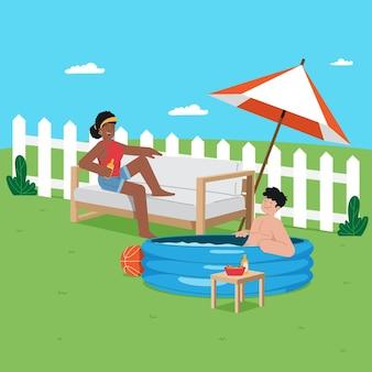 Staycation en el concepto de patio trasero