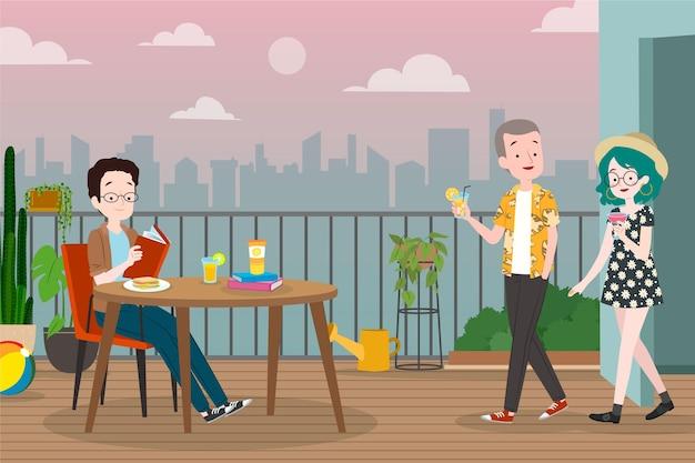 Staycation en la terraza de la azotea restaurante de nueva escena