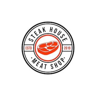 Steak house o carnicería vintage etiquetas tipográficas, emblemas, plantillas de logotipos.