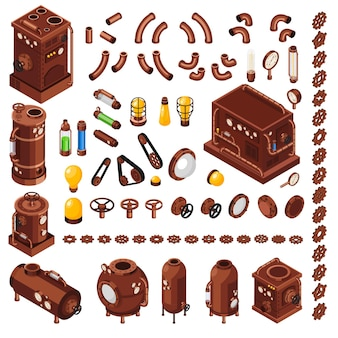 Steampunk art constructor colección isométrica de elementos inspirados en maquinaria de vapor del siglo xix.