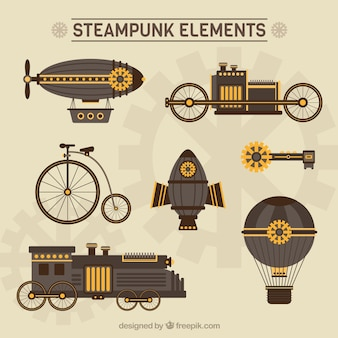 Steampunk elementos dibujados a mano mecánico