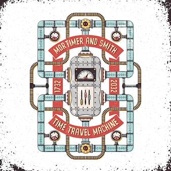 Steampunk fantástica máquina del tiempo en un grunge.