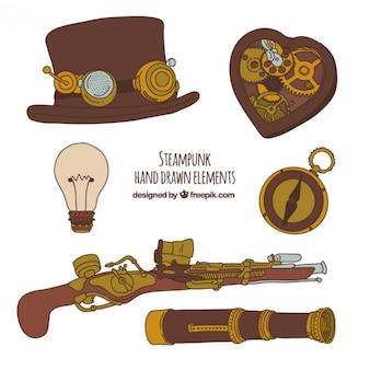 Steampunk mano elementos dibujados