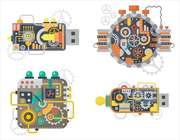 Steampunk vintage clock relojes cara y unidad flash usb con ruedas dentadas y engranajes aislados