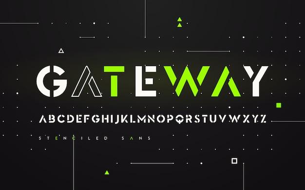 Stenciled futurista san serif, alfabeto, letras mayúsculas, tipografía.