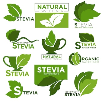 Stevia edulcorante sustituto del azúcar iconos y etiquetas de productos saludables