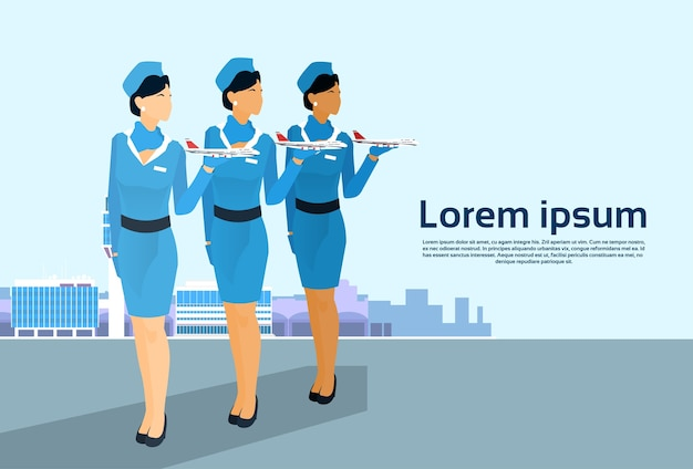 Stewardess group hold aircraft crew over aeropuerto