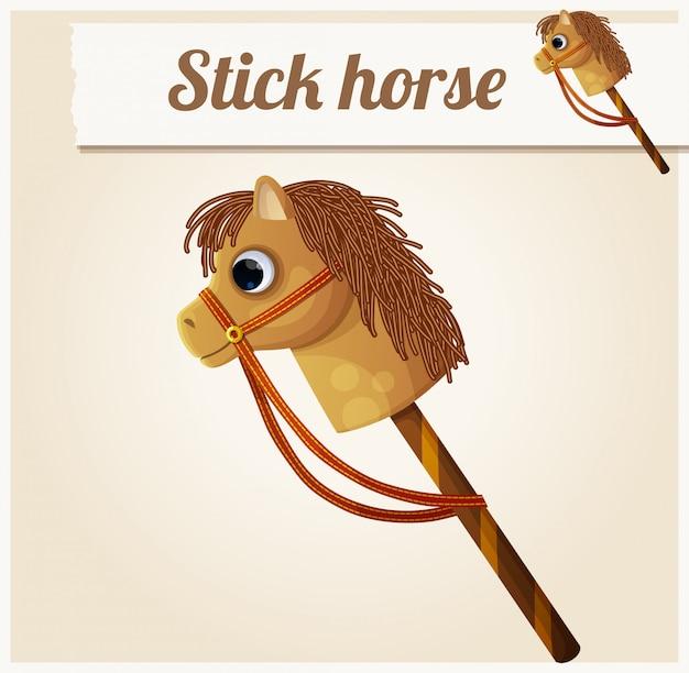Stick caballo de juguete. ilustración vectorial de dibujos animados