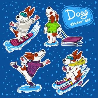 Stikers de deportes de invierno con perros en coloridos suéteres.