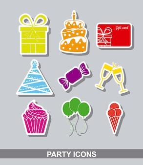 Stikers fiesta sobre fondo gris ilustración vectorial