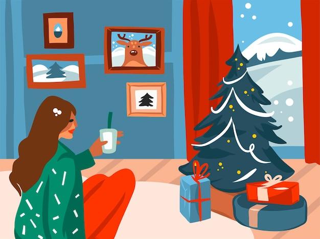 Stock abstracto dibujado a mano feliz navidad