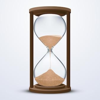 Stock de arena reloj de arena aislado sobre fondo blanco. estilo de ilustración realista