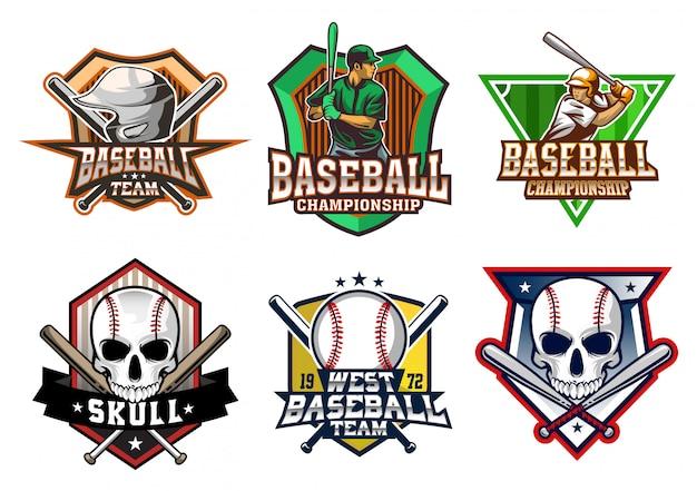 Stock conjunto de sheild de béisbol.