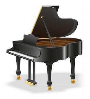Stock de instrumentos musicales de piano de cola.