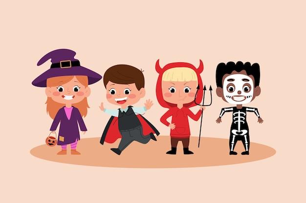 Stock niños de halloween en disfraces. vestidos de fiesta de bruja, drácula, esqueleto y diablo.