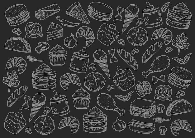 Stock vector conjunto de estilo de pizarra de comida rápida