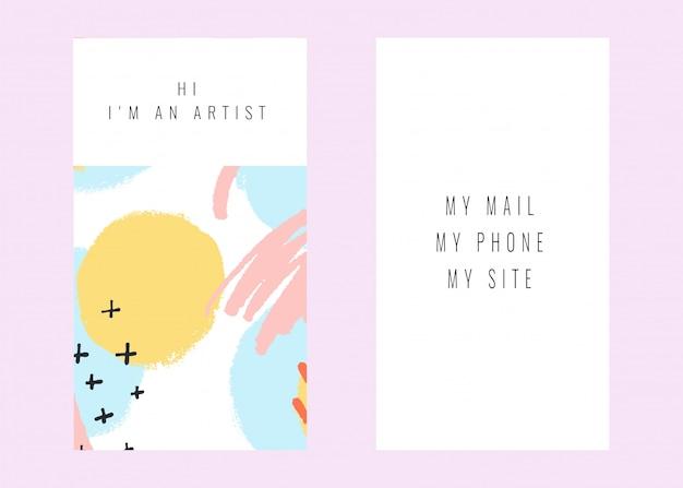 Stock vector tarjeta de visita con un diseño de color pastel