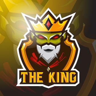 Stock vector verde rey mascota logo ilustración