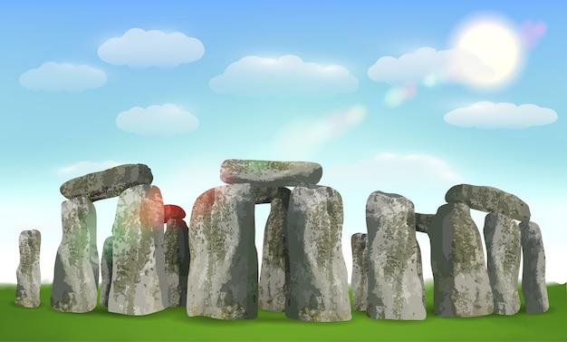 Stonehenge inglés hito en el campo con el cielo