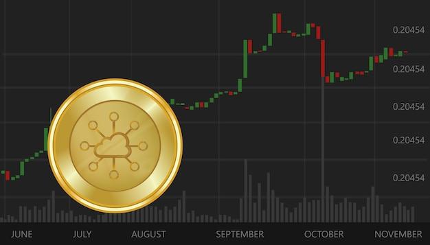 Storjoin moneda disminución de valor de cambio de precio virtual digital gráfico y gráfico de fondo negro