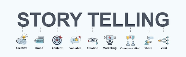 Story telling banner web icon for business.