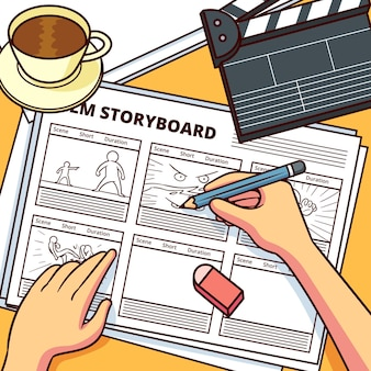 Storyboard con accesorios de películas y café.