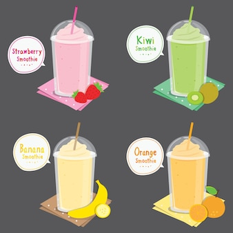 Strawberry kiwi banana orange juice fruit smoothie dibujos animados