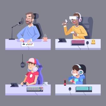 Streamer de juego en su escritorio ilustrado