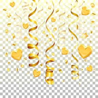 Streamer de oro sobre fondo transparente