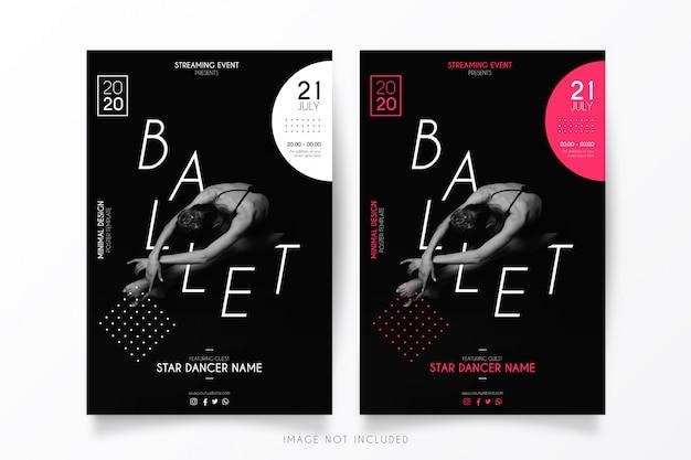 Streaming plantilla de póster de evento de ballet
