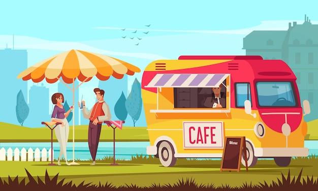 Street cafe bus en la composición de dibujos animados del parque de la ciudad con una pareja joven disfrutando de bebidas refrescantes