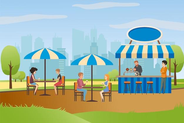 Street cafe o summer bar en city park flat vector