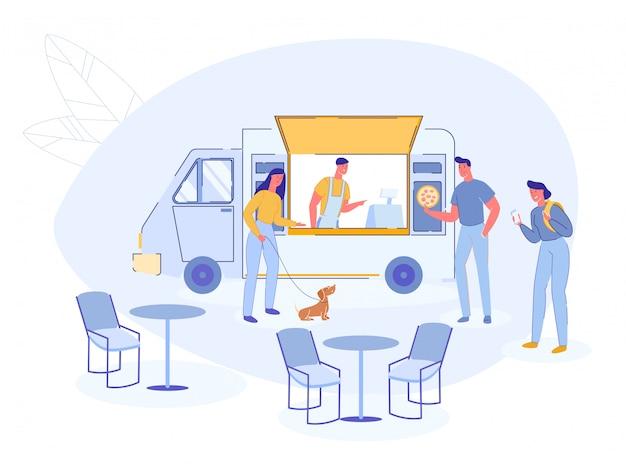 Street fast food pizza truck car con los compradores.