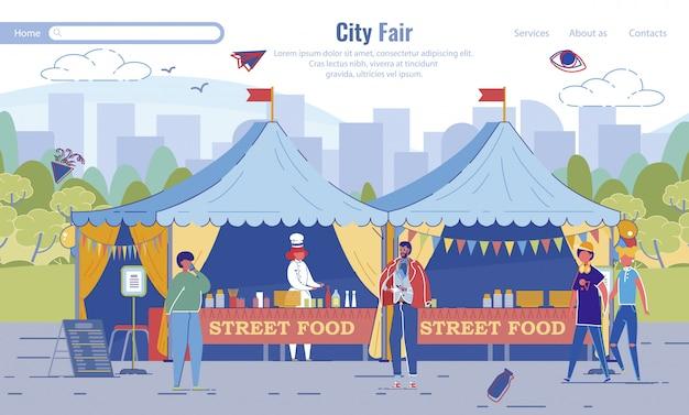 Street food city fair festival página de invitación
