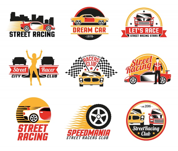 Street racing logo emblemas icons set