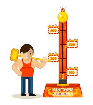 Strongman y prueba tu juego de fuerza. martillo y hombre, atlético musculoso,