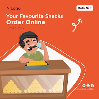 Su diseño de banner en línea de pedido de bocadillos favoritos con pastelero hablando por teléfono