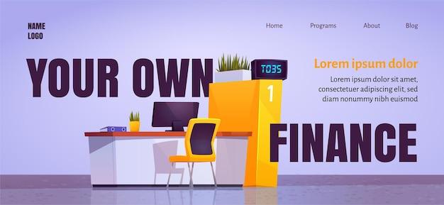Su propia página de inicio de dibujos animados de finanzas con el escritorio del personal de la oficina del banco en el vestíbulo
