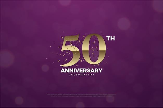 Su quincuagésimo aniversario con números y hay un efecto de sombra en el medio del número