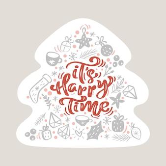Su tiempo feliz texto vintage caligráfico escandinavo en forma de árbol de navidad