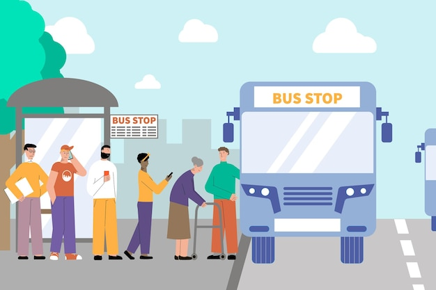 A su vez, gente, transporte, plano, ilustración