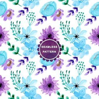 Suave azul púrpura acuarela de patrones sin fisuras